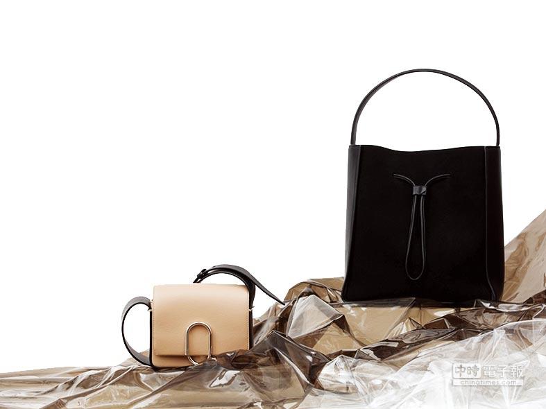 LUXJOY引入品牌3.1 Phillip Lim,Alix奶油色造型斜背包(迷你)(左),2萬9700元;Soleil黑色牛皮抽繩水桶包(大),3萬5100元。