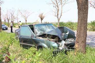 7旬夫妻駕車自撞路樹 1死1重傷