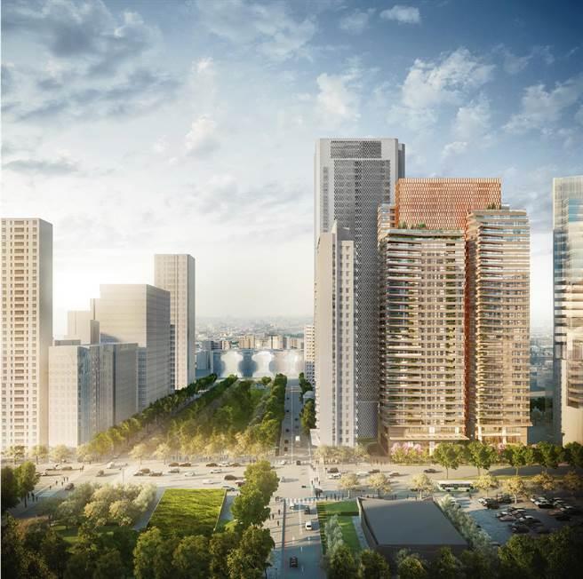 大陸建設麗格、寶格與台中國家歌劇院,透過綠園道相互仰望。(大陸建設提供)