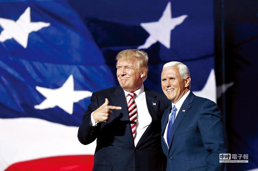 副總統當選人Mike Pence(右)。圖/美聯社