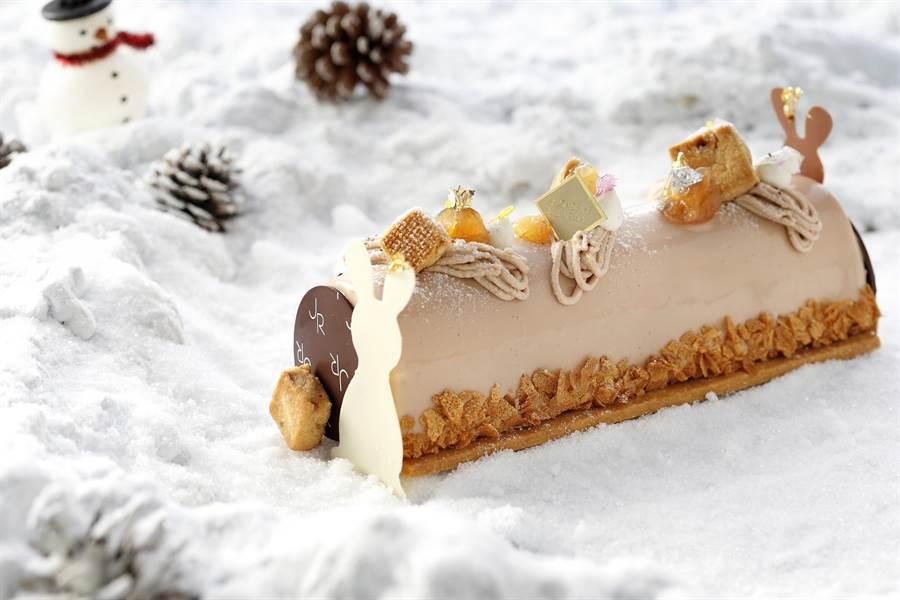 「法式栗香樹幹」蛋糕,以口感綿密的栗子慕斯製作內餡。(業者提供)