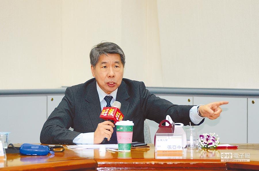 台灣大學政治系教授張亞中。(記者林瑞益攝)