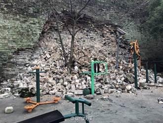 南京明城牆局部坍塌 現10餘公尺大坑