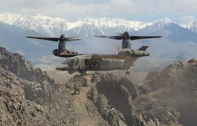 貝爾的V-280如它的前輩MV-22魚鷹一樣,是直升機與飛機的混合體。(圖/貝爾公司)