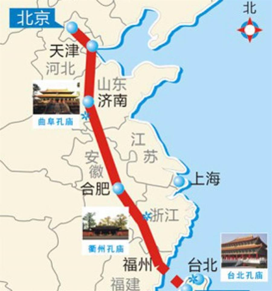 大陸設計的「北京-台北高速公路」示意圖。(圖/中新網)