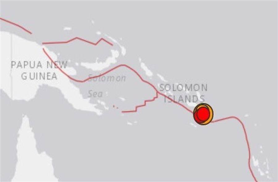 所羅門群島7.8強震。(取自usgs)
