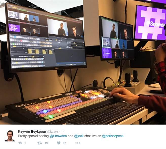 訪談透過現場播放平台Periscope舉行,由多爾西和史諾登以問答的形式進行。(照片取自推特@kayvz)