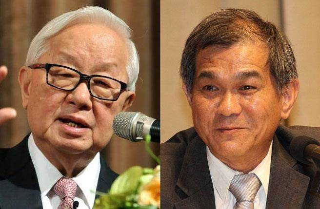 科技部長楊弘敦(右)將台積電5000億元投產計畫曝光,台積電董事長張忠謀傳血壓飆急叩醫。(資料照片)