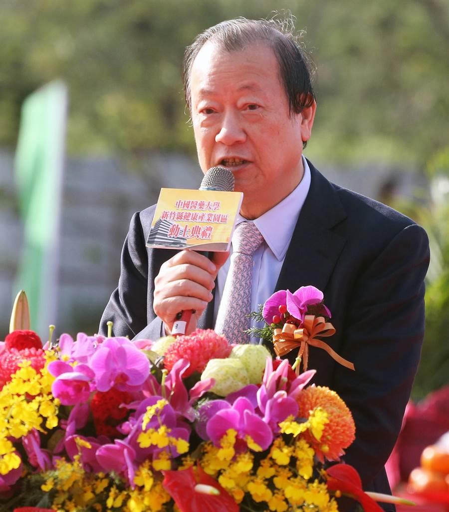 蔡長海致詞時表示,園區完工後將會有效提升醫療品質並帶動地方繁榮。(范揚光攝)