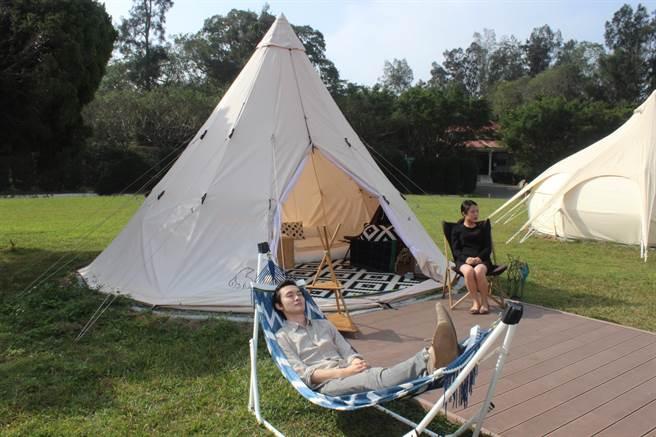 香格里拉樂園打造勤美學山那村,不只是露營,希望讓遊客與自然為伍的美學態度。(黎薇攝)