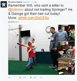 MLB》7歲小粉絲寫信挺 史普林格暖心回應