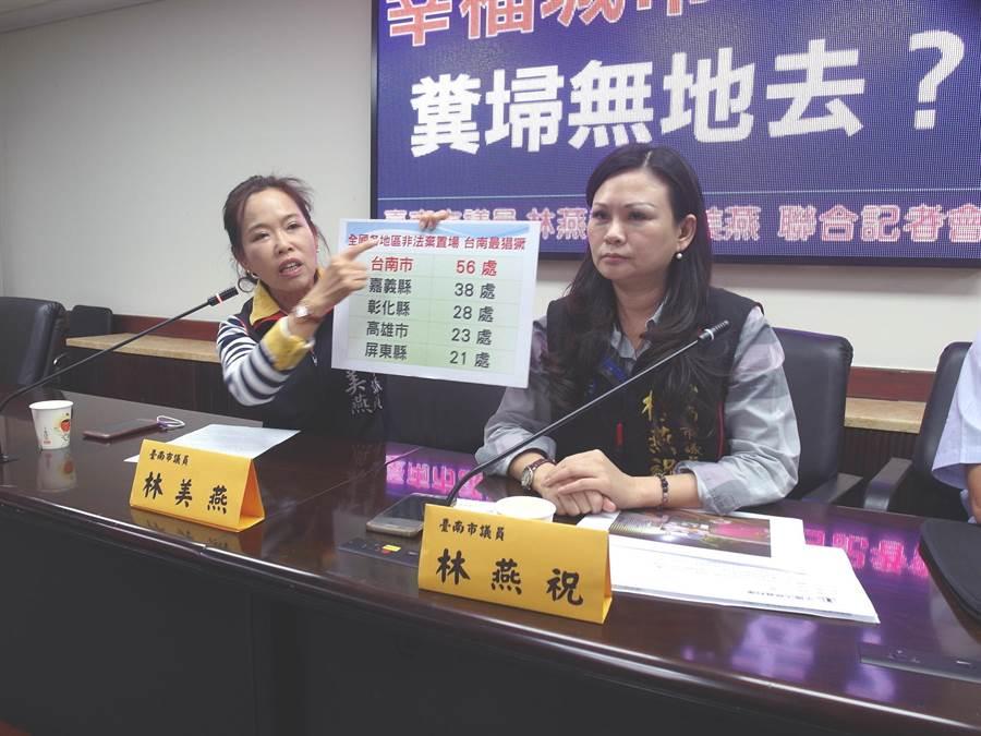 台南市議員林燕祝(右)、林美燕(左)接獲工業區廠商陳情,要求環保局解決事業廢棄物堆積如山的問題。(洪榮志攝)