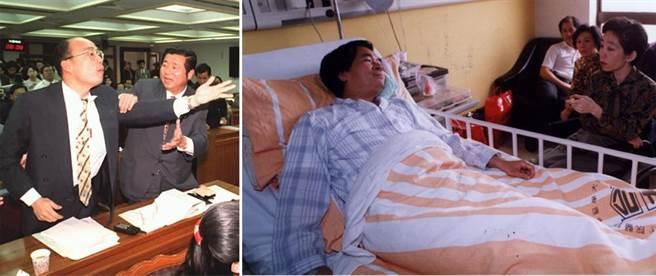 當年民進黨立委陳水扁(圖右)被時任立委的韓國瑜(圖左一)打了一拳, 住進台大醫院急診,吳淑珍在床側探視。韓國瑜回憶說,衝突導火線是因為阿扁說了有辱榮民的一句話。(圖/本報資料照片)