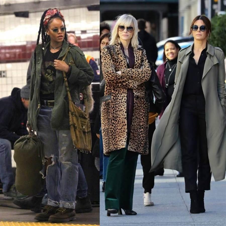女版《瞞天過海》拍攝場景:蕾哈娜(左)、凱特布蘭琪和珊卓布拉克(右)