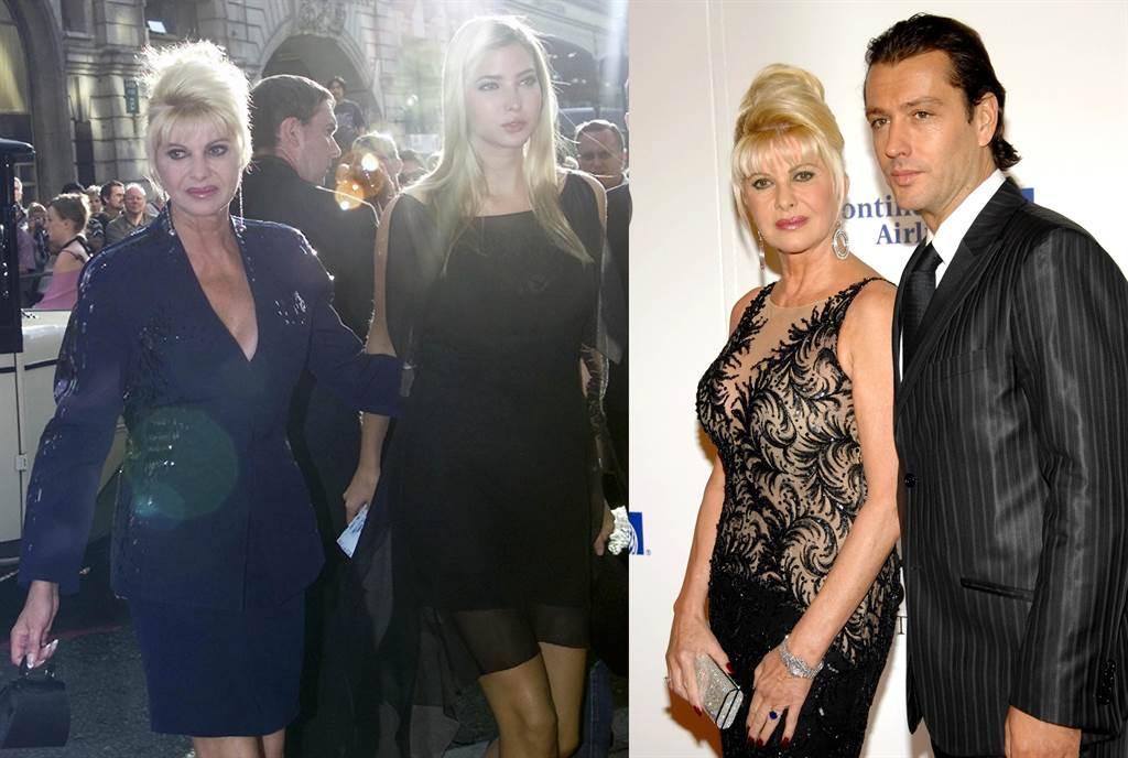 (左)伊凡娜的美貌毫不保留地遺傳給女兒伊凡卡,圖為母女倆2002年在倫敦出席音樂劇首演的資料照。(圖/美聯社) (右)伊凡娜2008年與1972年出生的義大利男模魯比康狄(Rossano Rubicondi)結婚,但不到一年就離婚了。儘管他們分道揚鑣,但經常有人看到倆人出雙入對。圖為伊凡娜與魯比康狄2007年在紐約出席癌症研究慈善舞會的資料照。(圖/美聯社)