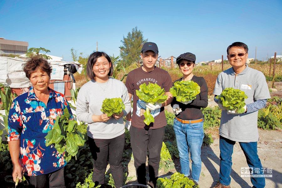 展望会会长陈纯敬(右起)、张艾嘉、奥斯卡和受助家庭顺利採收完青菜。