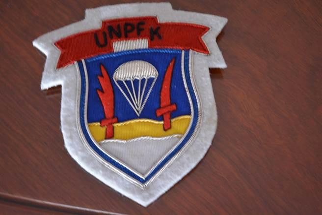 聯合國韓國游擊部隊使用的臂章,目前還為高文俊先生珍藏著。(高文俊先生提供)