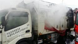 資源回收車火燒車 停靠國道邊