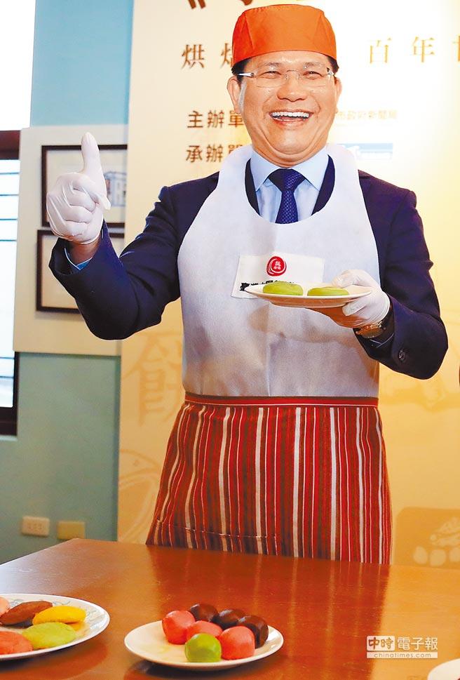 市長林佳龍表示,台中是飲食文化豐富的城市,也是適合生活的宜居城市,透過10大伴手禮競賽活動行銷台中飲食文化。(盧金足攝)
