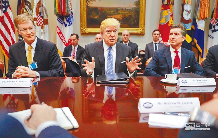 美國總統川普23日(中)在白宮與美國企業領袖舉行會談。他強烈批判美日、美中貿易不公平,今後必須與兩國協商。(美聯社)