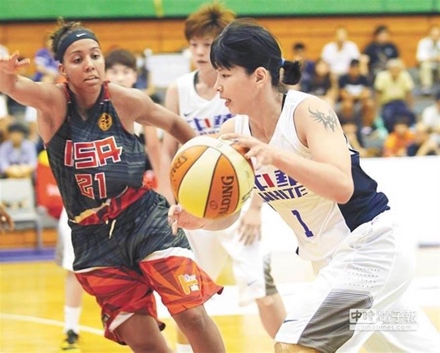 馬怡鴻(右)打完2015瓊斯盃高掛球鞋。(本報資料照/陳怡誠攝)