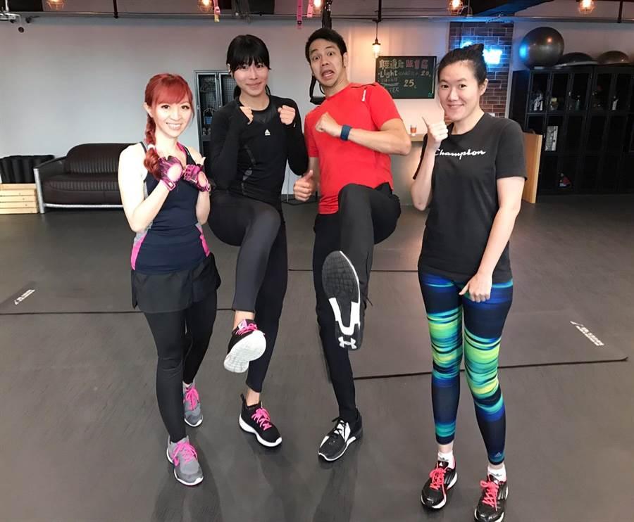 馬怡鴻(左二)愛上健身房維持體能和好身材。(馬怡鴻提供)