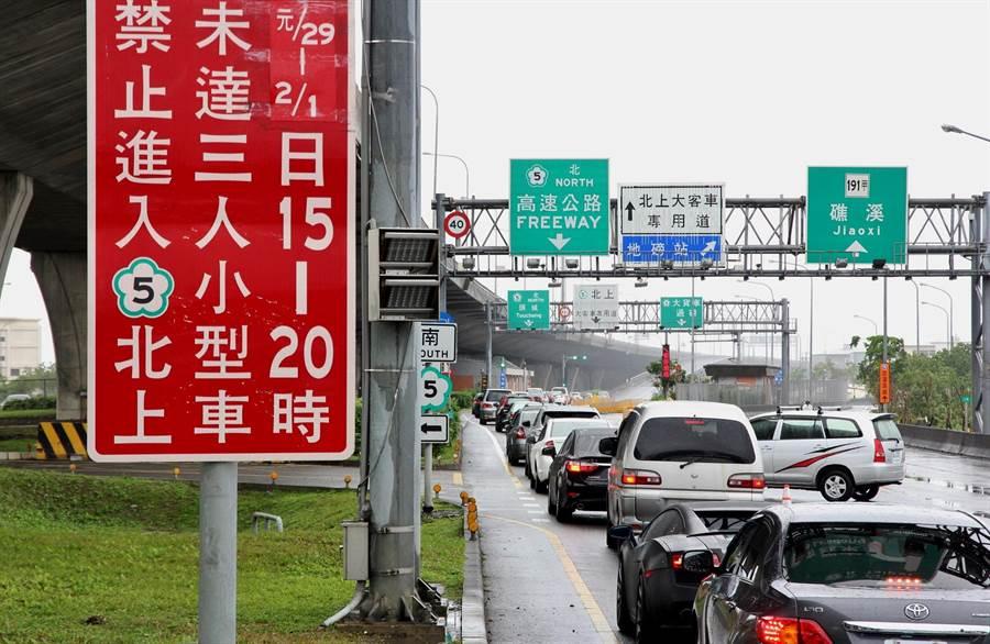 國5今上午再湧北返車潮,宜蘭4個交流道匝道陸續出現排隊車龍。(簡榮輝攝)