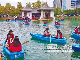日月湖啟用 林佳龍划船見證