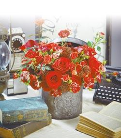 玫瑰、洋桔梗及百合…愛妳喲!