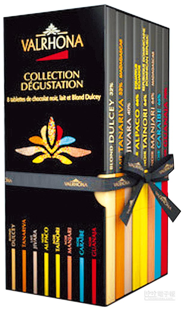 Valrhona精選巧克力片禮盒,有如珍藏的書籍,是文青愛的入門款。(翻攝自官網)