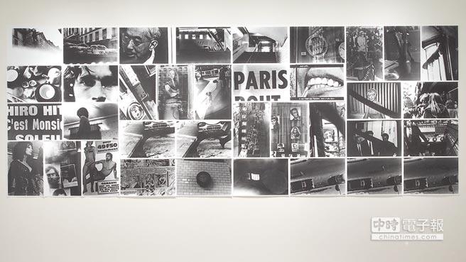巴黎獵影  日本藝術家中平卓馬1971年參加巴黎青年雙年展時,將漫步巴黎街頭拍攝的照片沖洗出來,拼組在展牆上,成為1970年代最重要的代表作《循環:日期、場所、行為》。圖為《循環》於亦安畫廊台北展出現場。(亦安畫廊台北提供)