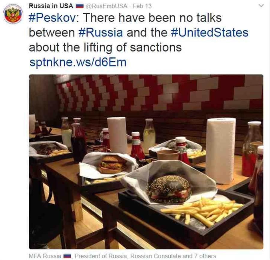俄羅斯駐美大使館在推特上回應了佛林的辭職。(圖取自俄羅斯駐美大使館的推特)