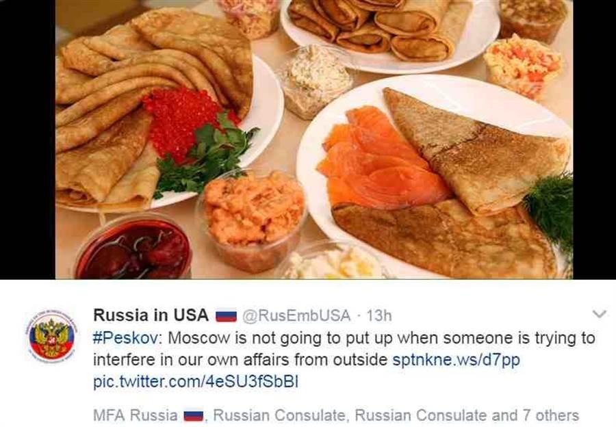 俄羅斯駐美大使館再度在推特上貼出食物的照片。(圖取自俄羅斯駐美大使館的推特)