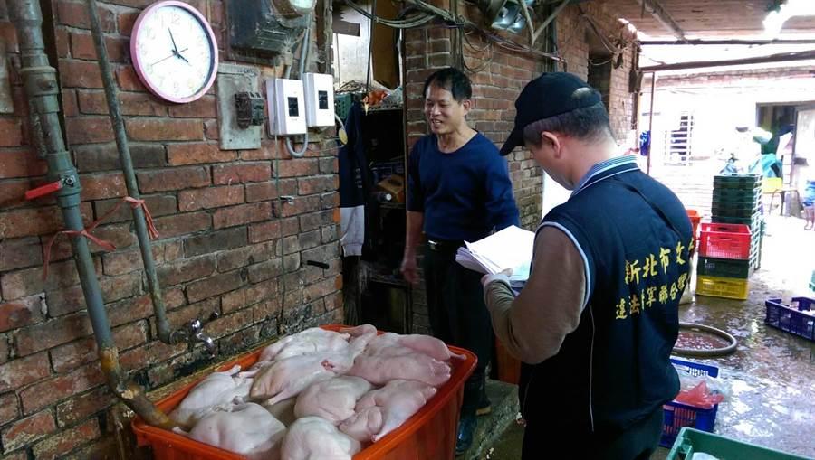 新北市農業局15日於三重查獲違法屠宰雞鴨,現場沒入50公斤雞肉屠體及30隻鴨,林姓負責人坦承私宰。(池雅蓉翻攝)