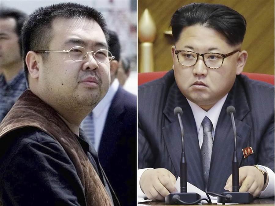 北韓問題專家馬登指出,金正恩(右)下令暗殺金正男(左)的可能性不大。(美聯社)