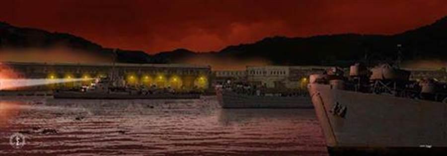 「二二八事變」時海軍中字號登陸艦兩艘,在太康號驅逐艦護航下進入基隆港時的想像畫面。(中國軍艦博物館)