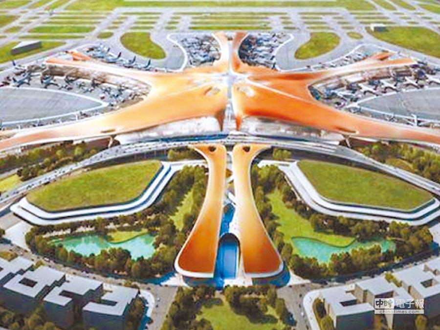 北京新機場效果圖,造型像「海星」。(取自新華網)