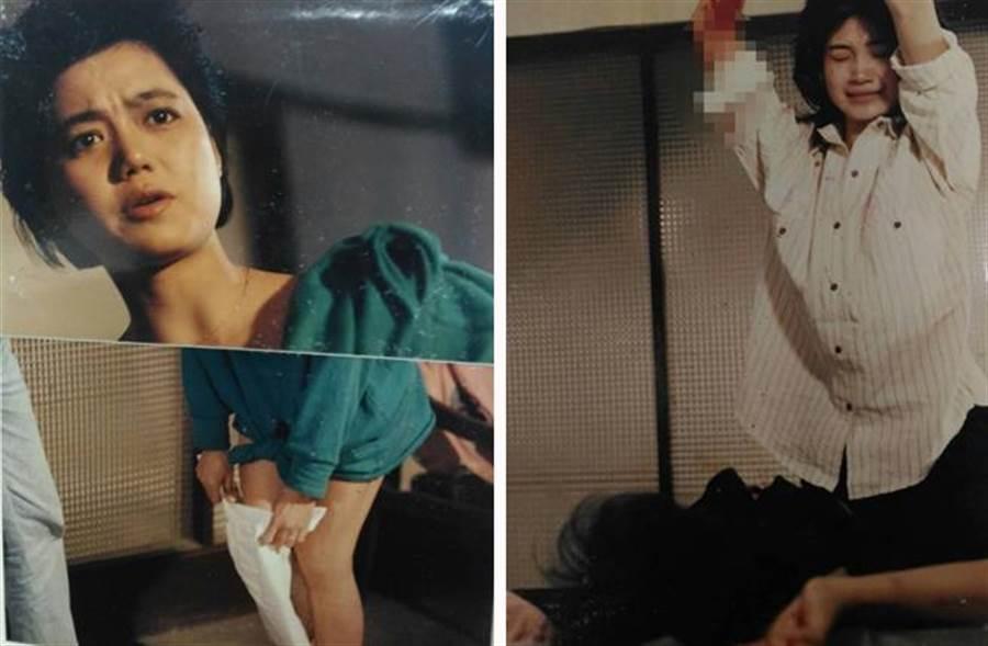 「失蹤人口」內,方季惟(葉純華)殺人的血淋淋畫面,只有留在林清介相本中(右圖),而飾演吸毒太妹的蘇麗媚(左圖)大眼有戲,是林清介非常重視的感覺。(林清介提供)