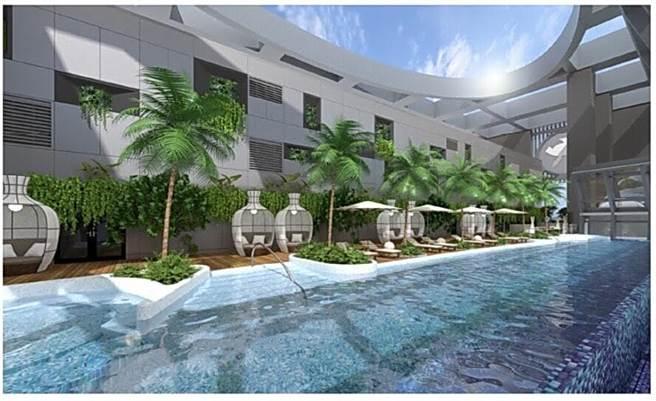 與希爾頓飯店同時預計在6月開始試營運的板橋凱撒大飯店,頂樓設有一無邊際泳池。(圖/凱撒飯店連鎖)
