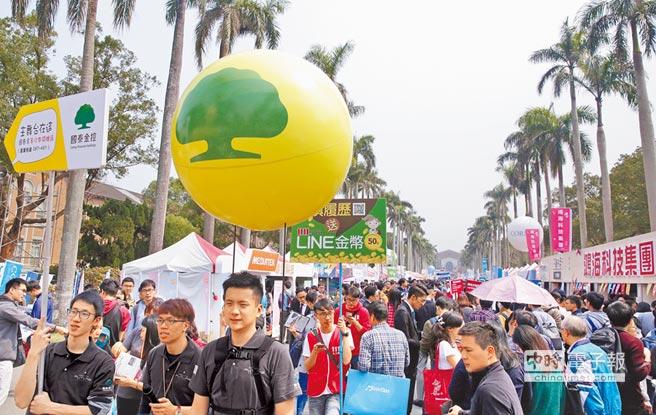 機會之門  台大校園徵才企業博覽會5日舉行,今年共275家企業參與,提供職缺逾2萬個,吸引許多求職民眾參加。(方濬哲攝)