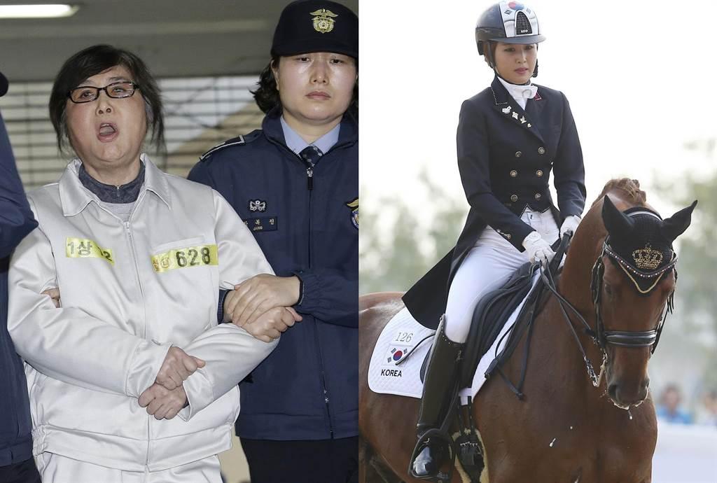 (左)崔順實 1月25日抵達首爾韓國獨立檢察官辦公室時大喊大叫,高呼遭獨檢組逼供,受到不公正待遇。(右)鄭維羅2014年9月20日在第17屆韓國仁川亞運中參加馬術盛裝舞步團體賽時的神情。(併圖/美聯社)