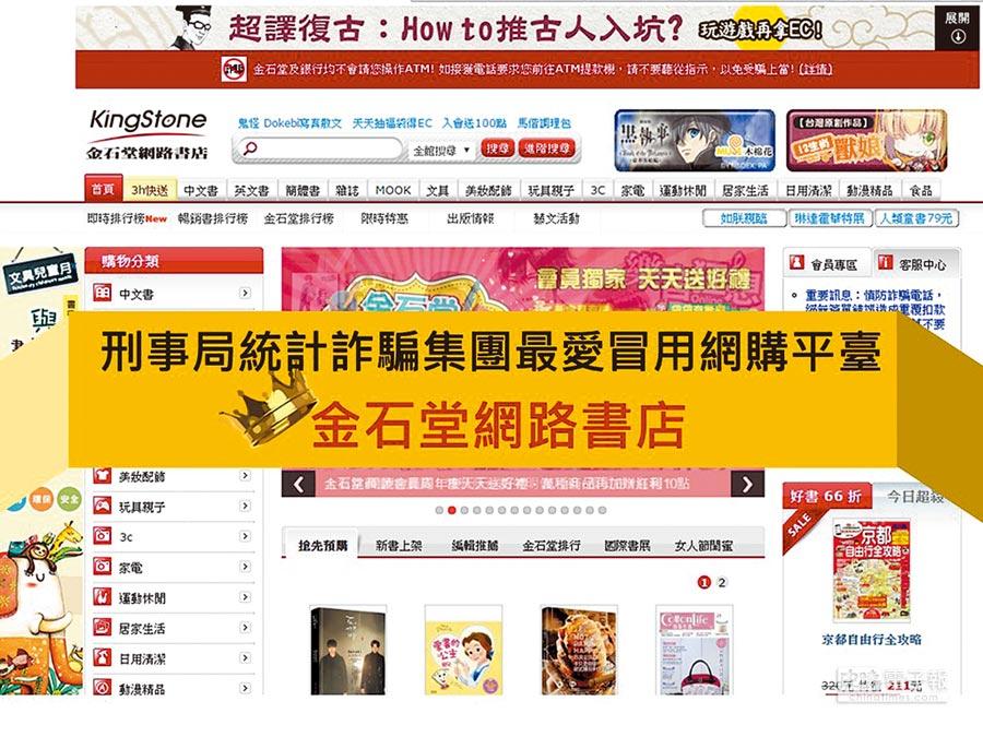 刑事局統計,「金石堂網路書店」是最常遭詐騙集團冒用的網購平台。(林郁平翻攝)