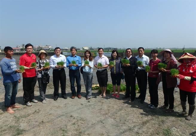 二林鎮農會總幹事邱士平等各界也出席香田國小的插秧活動,回憶自己生在農村的童年。鐘武達攝。