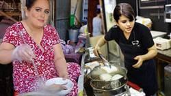愛黛兒路邊賣小吃、賽琳娜當店員夾刈包?難道是體驗泰國當地文化?