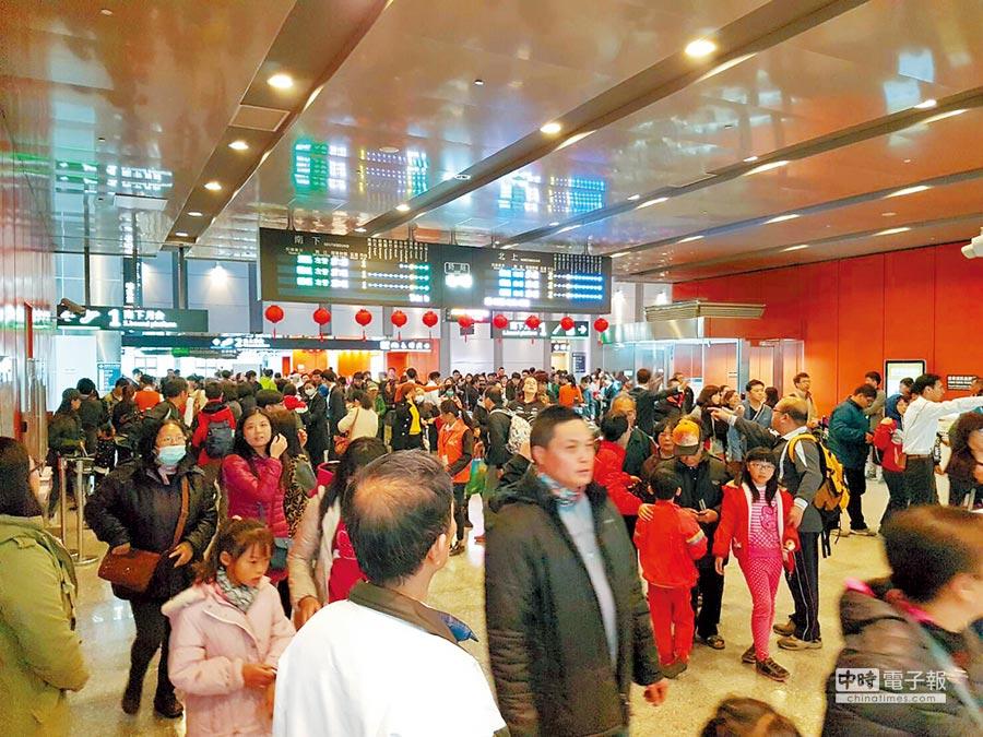 高鐵雲林站年節高峰搭載量曾經每日突破2萬人次,台灣燈會閉幕當天進出人次高達33814人次。(本報資料照片)