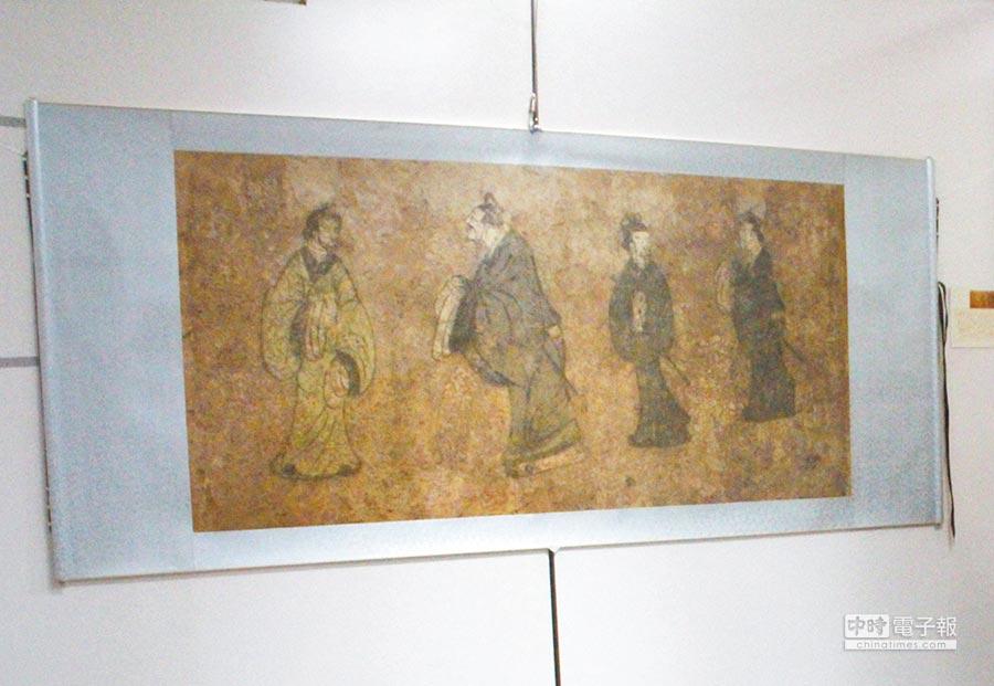 東漢.東平漢墓出土的《孔子見老子》壁畫(見圖,張祈攝)