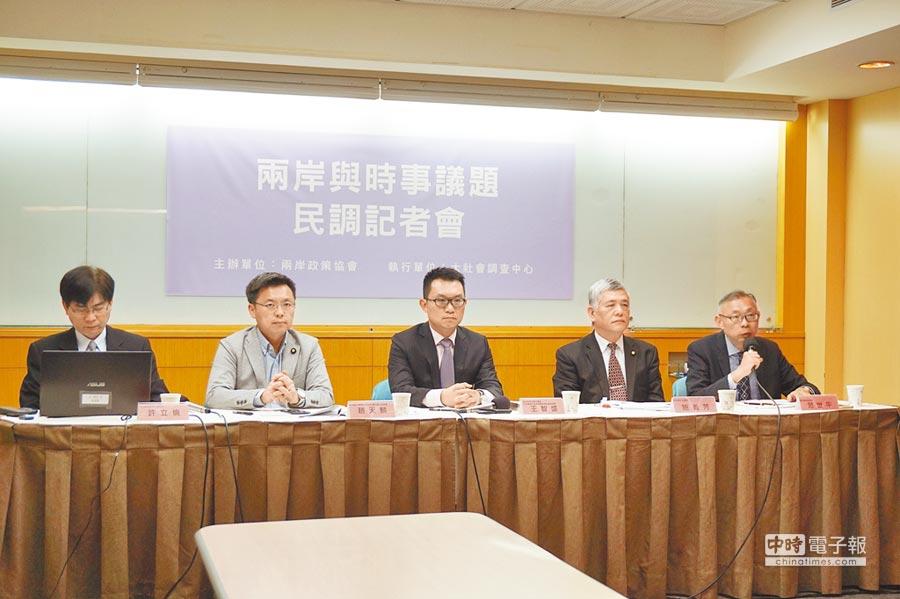 兩岸政策協會29日召開「兩岸與時事議題民調」記者會。(記者蔡浩祥攝)