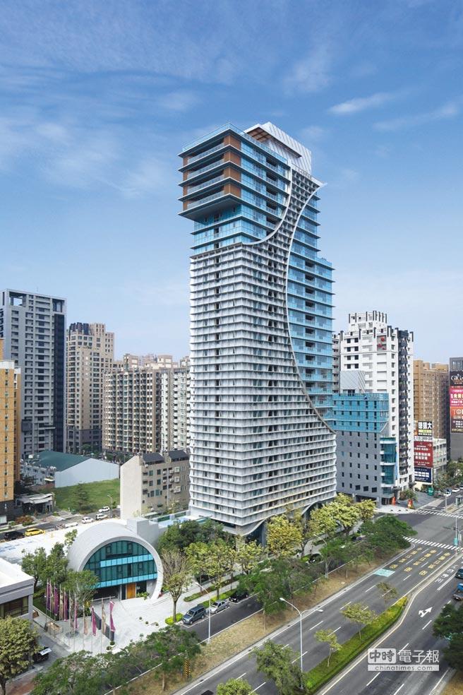 宏舜高雄HH大樓獨一無二的海浪及圓弧線條外觀,呼應高雄海洋城市的意象。圖/宏舜開發提供