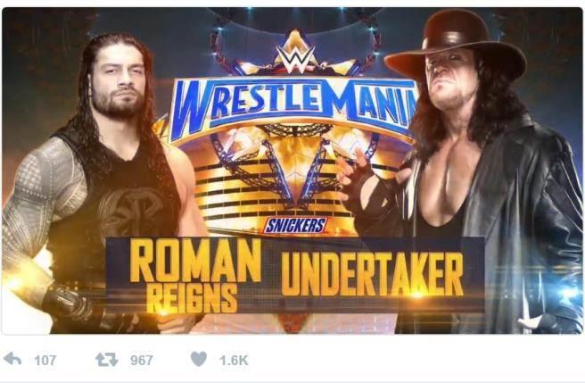 今年的主賽是瑞恩斯(左)與送葬者的無規則大戰。(摘自WWE推特)