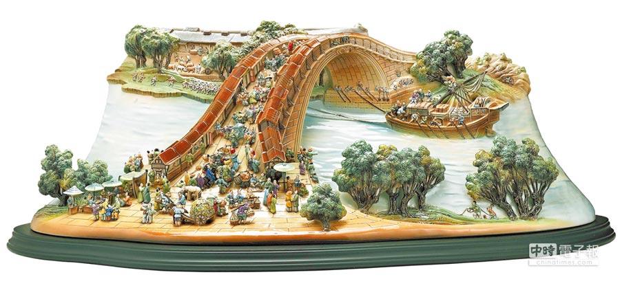 清明上河圖虹橋瓷瓶限量288件,38萬6000元。